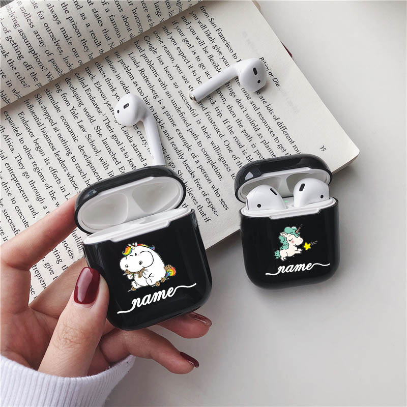 Cute Cartoon Unicorn Hard Earphone Case For Apple Airpods Protective Cover DIY Customized Clear Earphone Case For Airpods Cases in Earphone Accessories from Consumer Electronics