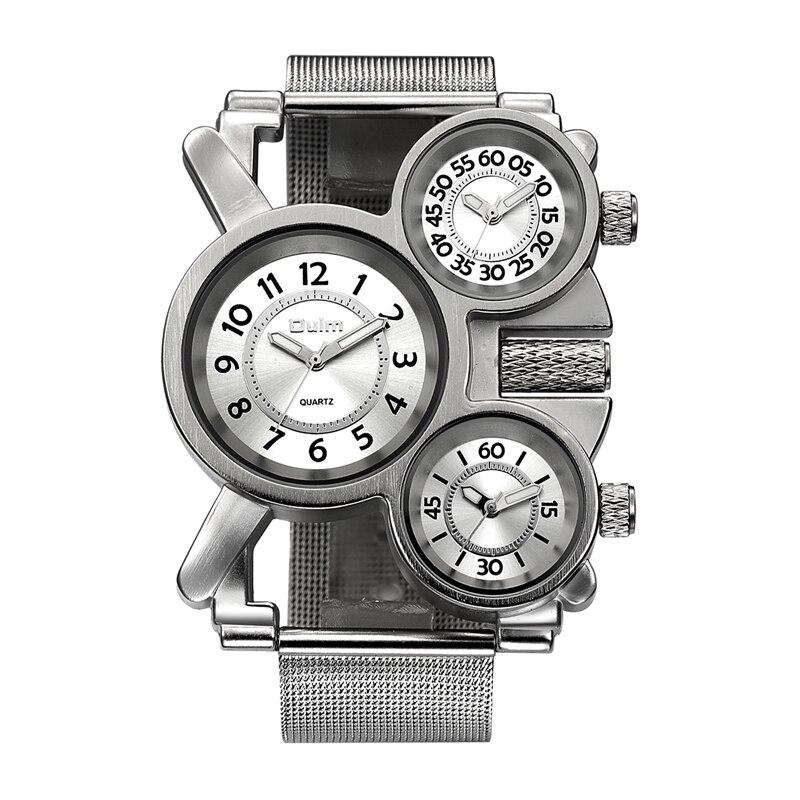 Oulm Mesh Herren Uhren Top Brand Luxus Multiple Time Zone herren Uhr Männlichen Quarz Outdoor Sport Armbanduhr reloj hombre