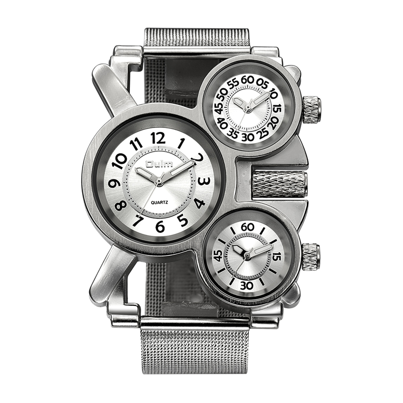 Oulm Mesh Mens Watches Top Brand Luxury Multiple Time Zone Men's Watch Male Quartz Outdoor Sports Wristwatch reloj hombre