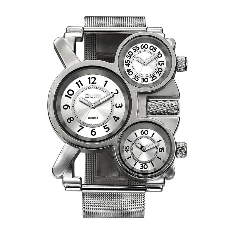 Prix pour Oulm maille hommes montres top marque de luxe multiple fuseau horaire hommes montre mâle quartz de sports de plein air montre-bracelet reloj hombre