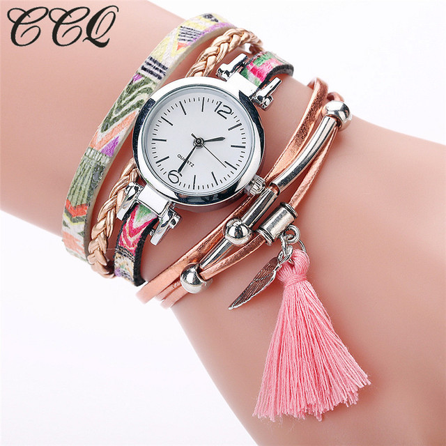 Dropshipping Women Feather Tassel Pendant Bracelet Wristwatches Fashion Casual W