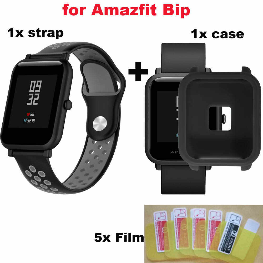 For Xiaomi Huami Amazfit Bip Bracelet Strap Case 20mm Silicone Watchband Screen Protector Pantalla Film Cases Wristband 7 Pcs
