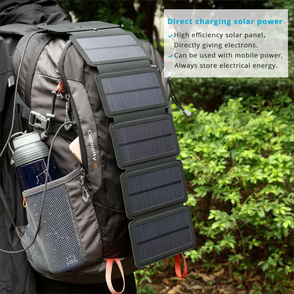 High Quality Sunpower foldable <font><b>Solar</b></font> <font><b>Panels</b></font> cells <font><b>5V</b></font> <font><b>10W</b></font> Portable <font><b>solar</b></font> mobile battery charger for phone outdoor camping image