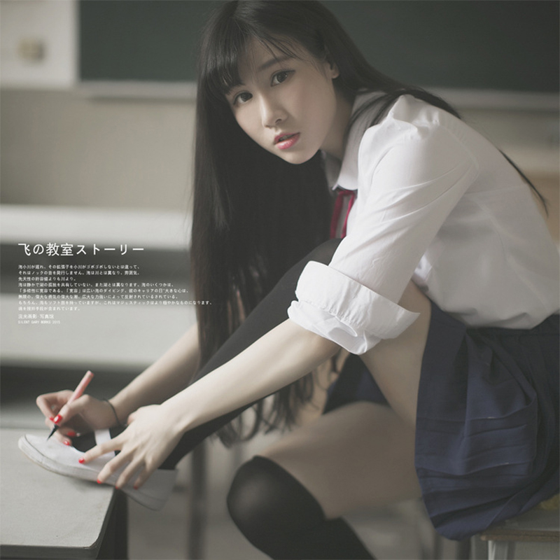 UPHYD Korean High School Uniform Lolita JK Uniforms School Girl Costumes Short Long Sleeve Chiffon Shirt And Pleated Skirt Suits
