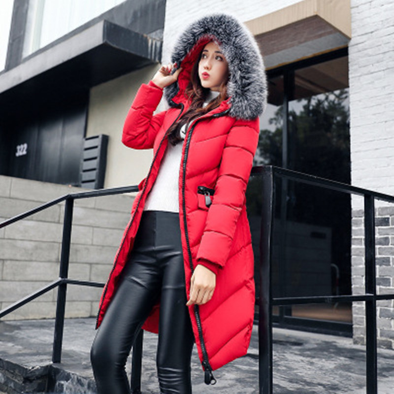 Winter Cotton Coats for Pregnant Women Thicker Long Parka with Rabbit Fur Collar Hooded Red Black Maternity Clothes Pink Grey european new women winter down cotton lengthened coats fashion print hooded fur collar thicker plus size slim jacket okxgnz a917