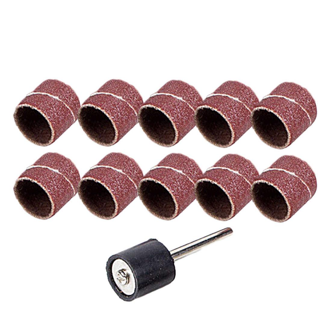 Nuevo 10 piezas accesorios de Dremel Grit 80 # bandas de lijado + tambor de lijadora de 3,17mm herramienta rotativa de mandril bits herramientas eléctricas