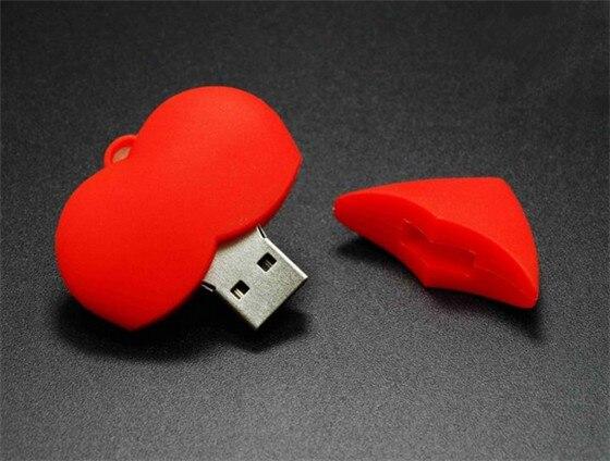 Red heart sweet love   USB 2.0 flash memory stick pen drive 4GB  8GB16GB 32GB Real capacity S899