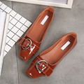 Fashion NEW Patent Leather Women's Casual Loafers Spring Square Toe Comfortable Woman Flats Shoes Ladies Casual Shoes Plus Size