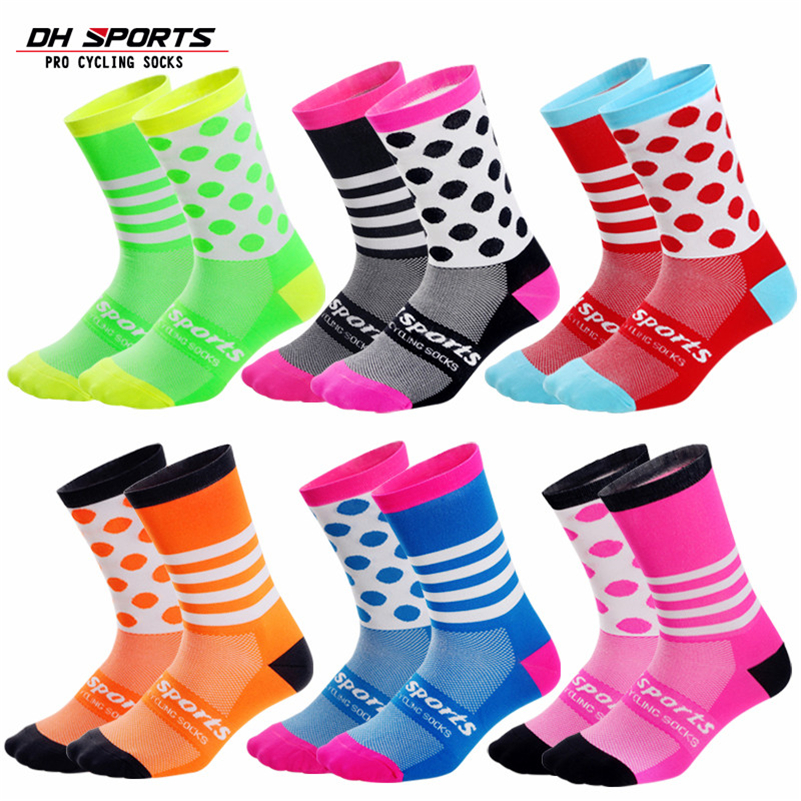 DH SPORTS Brand Cycling Socks Comfortable Outdoor Sport Men Women Dot Socks Running Hiking Racing Road MTB Mountain Bike Socks
