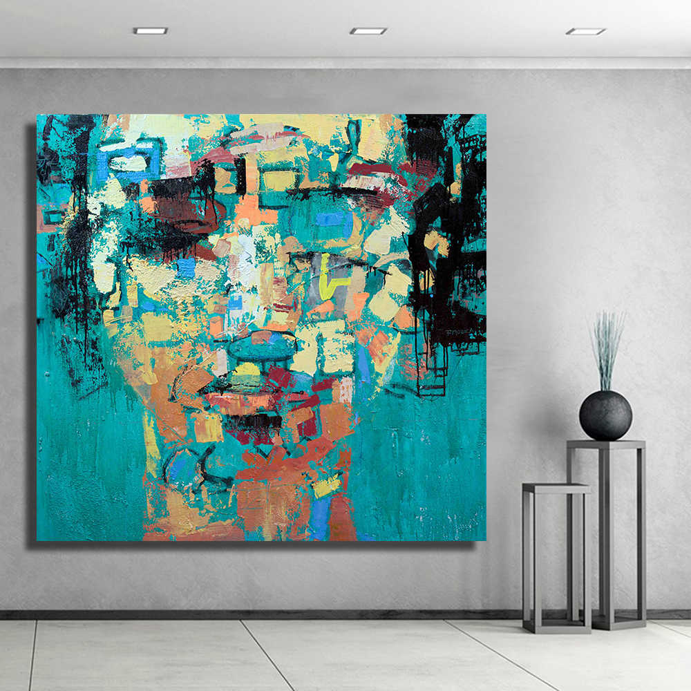 Qkartなし枠組壁の装飾現代キャンバスの油絵女性肖像装飾画像オフィス寝室