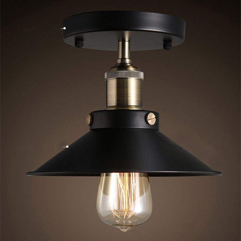 Retro Ceiling Lamp Round Vintage Ceiling Light Industrial Wind Design Edison Bulb Antique Lamp Shade Ambilight Lighting Fixture
