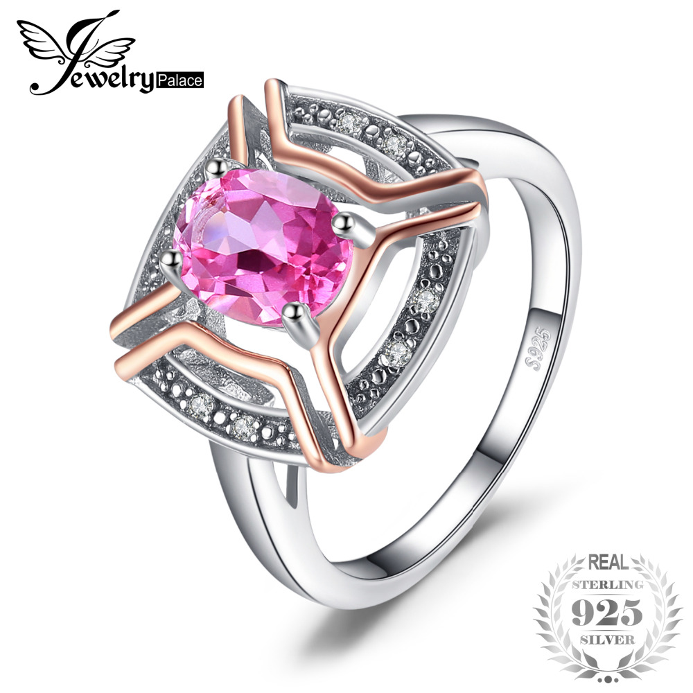 JewelryPalace Classical 1.5ct Oval Shape Pure Pink Topaz Ring 100% 925 Sterling Silver Wedding Fine Jewelry For Woman jewelrypalace 100