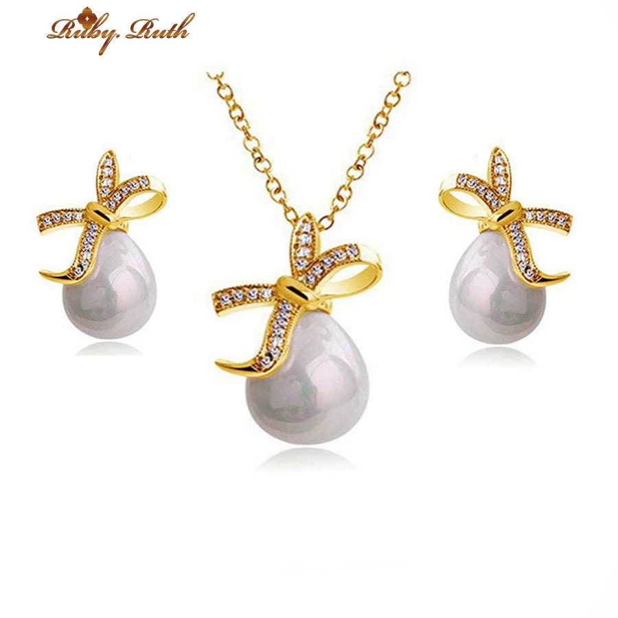 Jewelry Sets African Beads Pearl Bridal Costume Necklace Earrings Wedding  Gold Plated Crystal Jewellery Dubai Women Indian Set