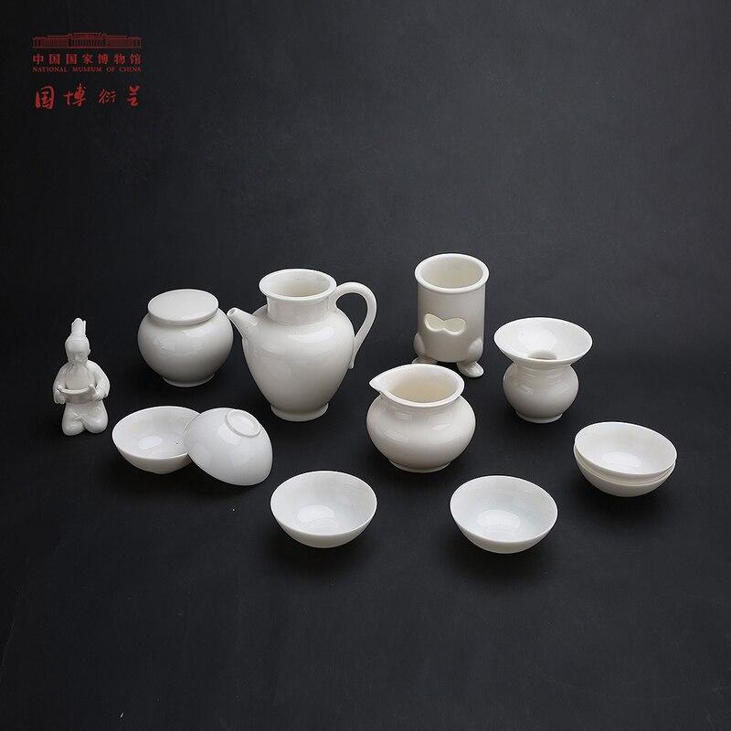 MUSÉE NATIONAL DE CHINE Traditionnelle Chinoise à Thé Blanc Lu Yu Statuette Thé Ensemble Antique Tasse Ensembles Illustration Avec Cadeau boîte 13 pcs