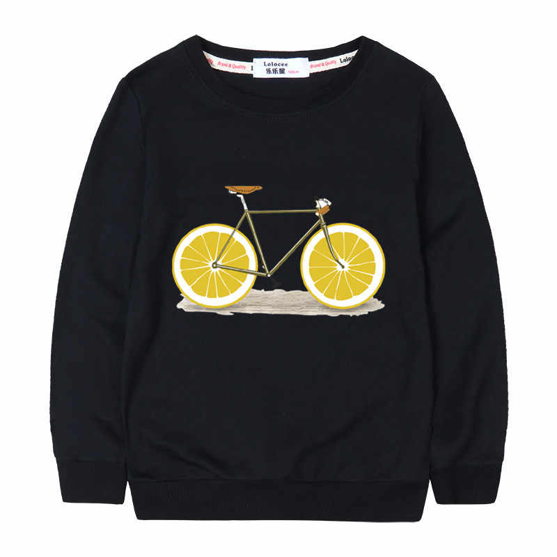 Spring Autumn Fruit Lemon Bicycle Print Sweatshirt 2018 New Fashion Girl Style Loose Long Sleeve Colorful Pineapple Black Tops
