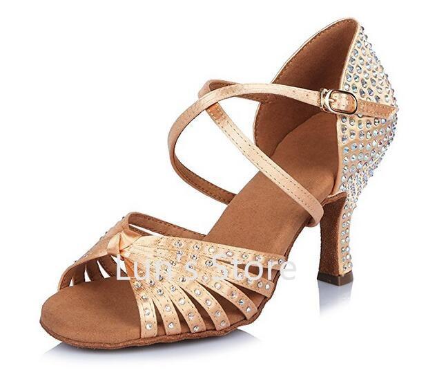 New Sexy Nude Satin Rhinestone Ballroom Latin Dance Shoes Latin Dance Shoes  Salsa Dancing Shoes Dance Shoes Free Shipping-in Dance shoes from Sports ... 0bafc05d5097