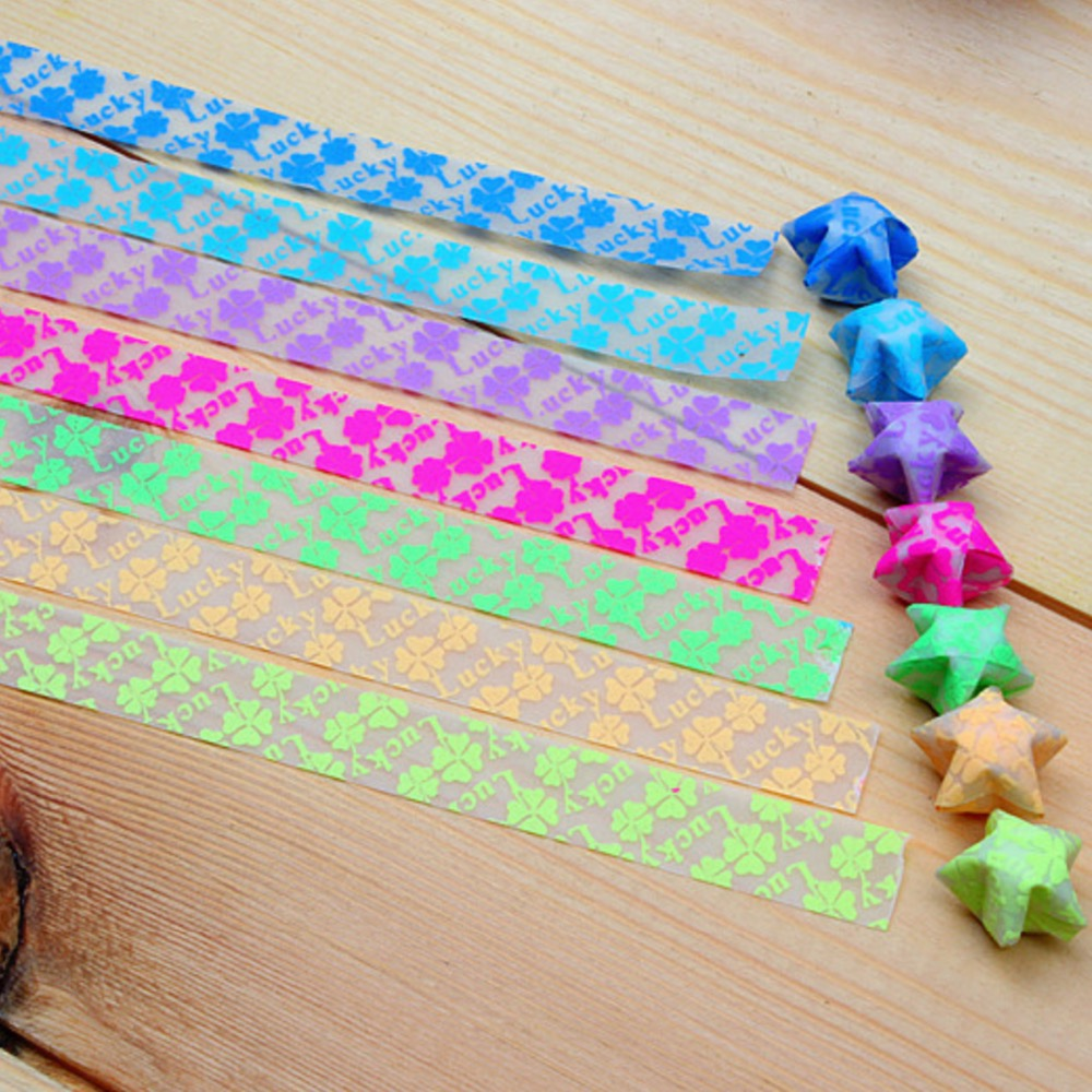 Color printing paper -  210 Pieces Lot Mix Color Lucky Star Printing Translucent Handmade Origami Paper Strips