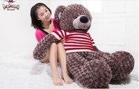 Огромный Прекрасный мишка игрушка Большой плюшевый кофе медведь игрушка с белой и красной полосой свитер кукла подарок на день рождения ок