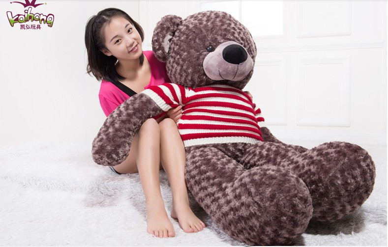 huge lovely  teddy bear toy big  plush coffee bear toy with white and red stripe sweater doll birthday gift about 150cm the lovely lying teddy bear doll red stripe cloth plush bear toy gift toy about 120cm