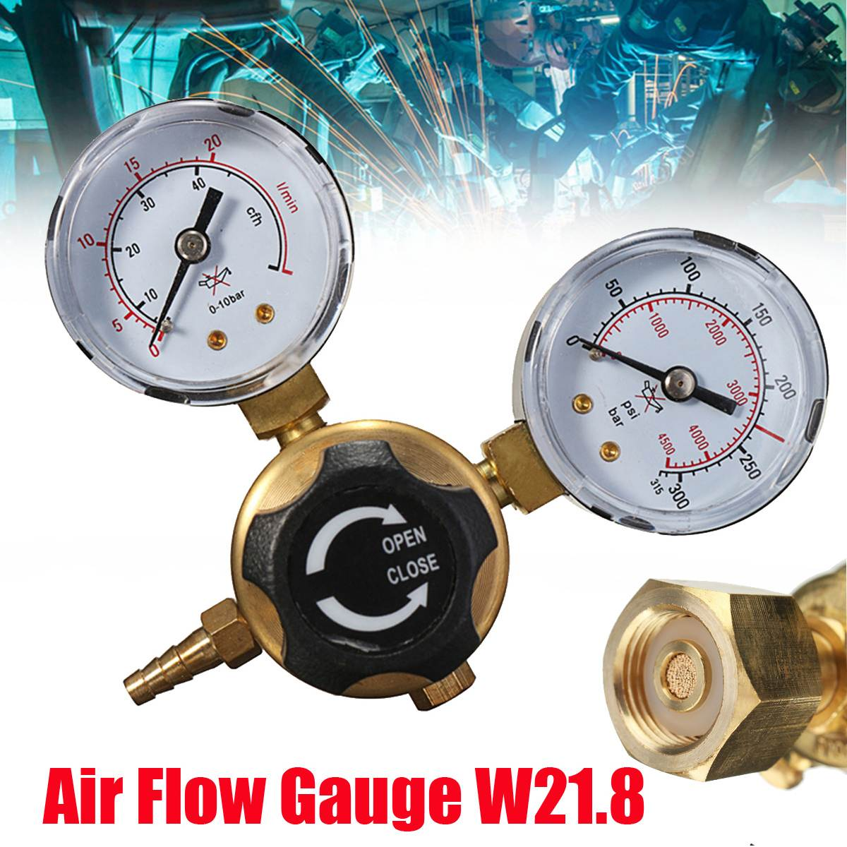 Mini Argon CO2 Gas Bottle Pressure Regulator MIG TIG Welding Flow Meter Gauge W21.8 1/4 Thread 0-20 mpa high quality 1 4pt thread 7mm barb argon gas flow meter welding weld regulator 0 15 mpa