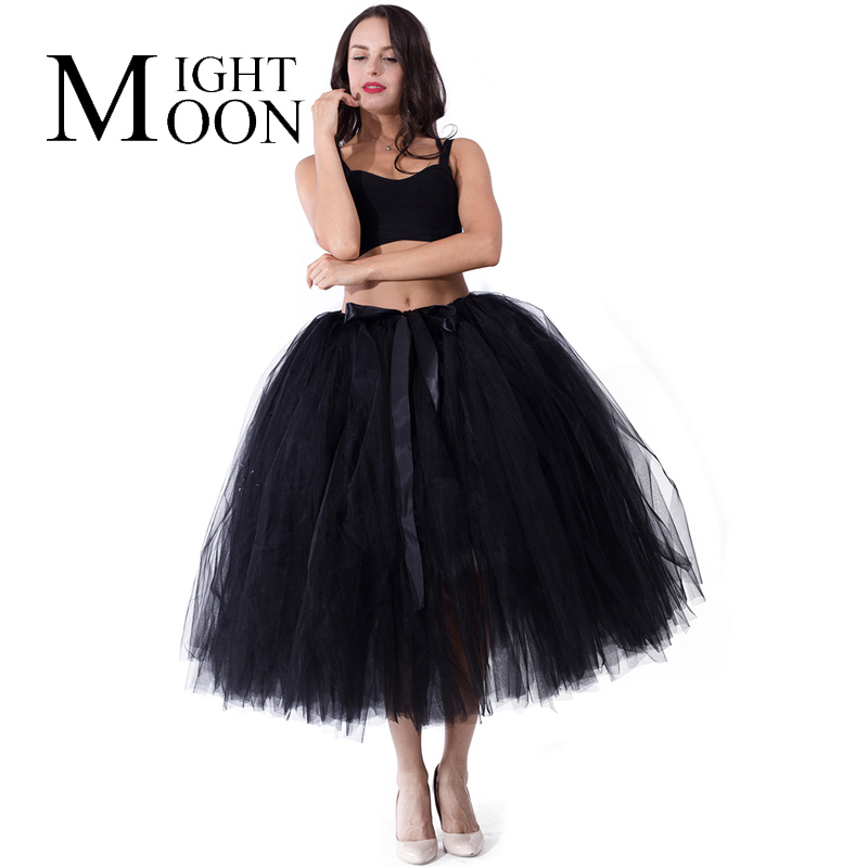 MOONIGHT Midi Tulle Skirt Tutu Skirts Women Ball Gown Party Petticoats Casual Ladies Skirts