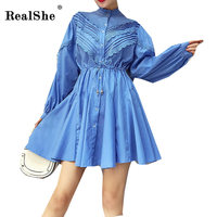 RealShe Spring Women Elegant Dress Plus Size Women Single Button Long Sleeve Casual Dresses Femme A