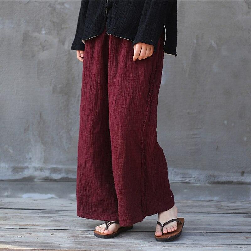 ORIGOODS Solid Cotton Linen Wide leg Pants Women Elastic waist Vintage Autumn Pants White Black Red Women Wide leg Trousers D044