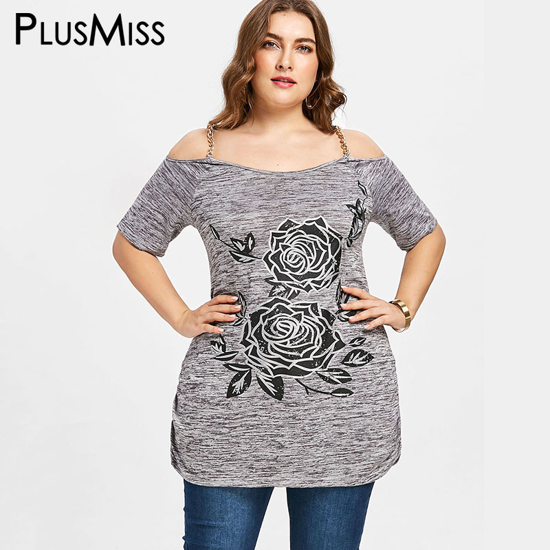 PlusMiss Plus Size 5XL 4XL Chains Spaghetti Strap Tops Tees Floral Print Off the Shoulder T-shirt Women Long T Shirt Summer 2018
