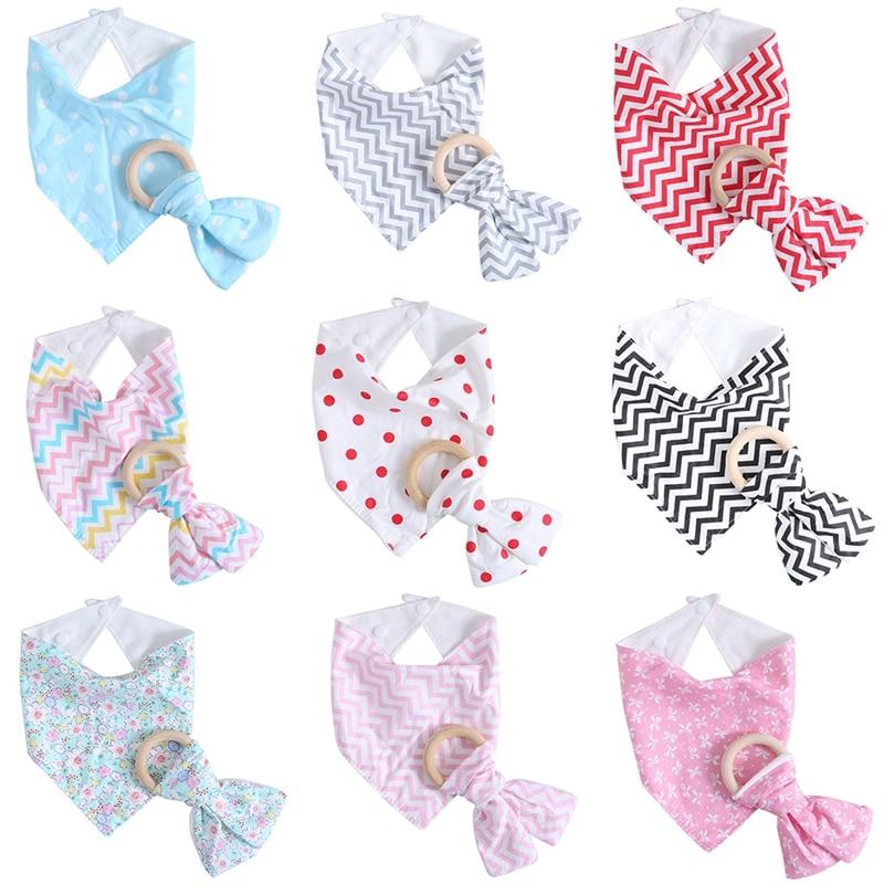 Stylish Simple 2Pcs Baby Feeding Triangle Bibs Cotton Teething Toddler Towel Bib