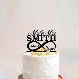 Персонализированные с именем и датой свадебный торт Топпер специальное событие торт Топпер Бесконечность Символ с любовью Mr и Mrs торт Топпе...