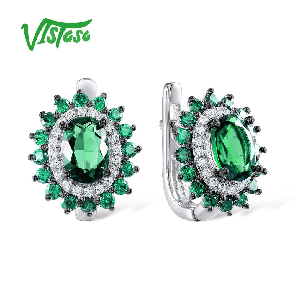 VISTOSO Oval Green Spinel 925 Sterling Silver Stud Earrings Jewelry Round White Cubic Zircon Stud Earrings Set For Women Party copper jewelry leopard head hanging pearl stud earrings tiger head green rhinestone black stud earrings for women