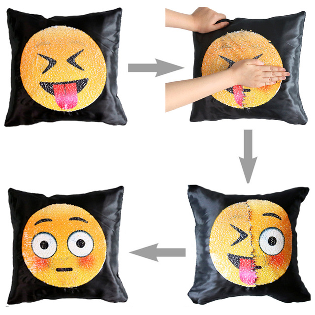 Emoji Cushion Cover Changing Smiley Pillow