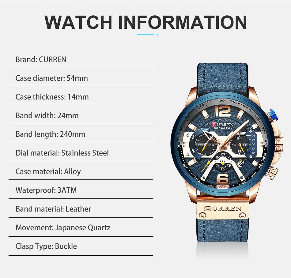 CURREN Luxury Brand Men Analog Leather Sports Watches Men's Army Military Watch Male Date Quartz Clock Relogio Masculino 2019 5