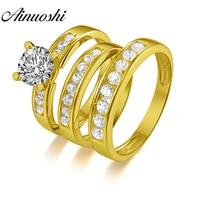 AINUOSHI 7,4 г настоящее золото трио кольца 10 К желтого золота обручальное кольцо для пары набор ряд дрель группа Lover обручение Свадебные украшен
