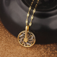360 ° rotating fortunes necklace, windmill copper inlay zircon pendants,  fashion jewelry wholesale,TLN188