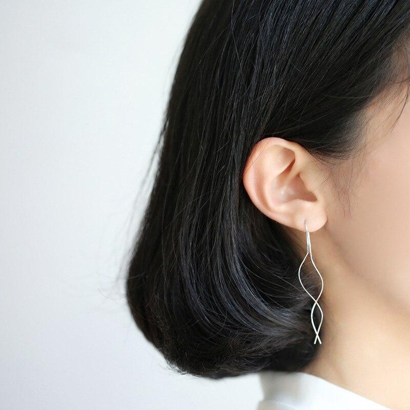 Fashion Style Silver Color  Line Long Earrings For Women Earrings Wedding Jewelry
