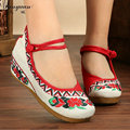 Sequins Embroidery Chinese Flat Platform Fabric shoes Flower Fancy shoes Women's Canvas Mary Jane Shoes