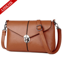 Genuine Leather Women Day Clutch Bags Real Skin Cowhide Envelope Small Shoulder Organizer Purse Eevening Party
