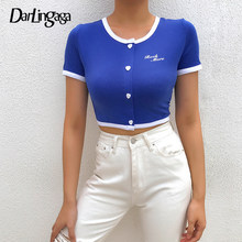 Darlingaga Harajuku Cropped Bodycon Summer Tshirt Short Sleeve Letter Buttons Casual Women's T-shirts Tops Ringer Tee Shirt 2019(China)