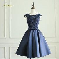 Loverxu Vintage Taffeta Bow Knee Length Homecoming Dresses 2107 Elegant Scoop Neck Appliques Short Graduation Dress