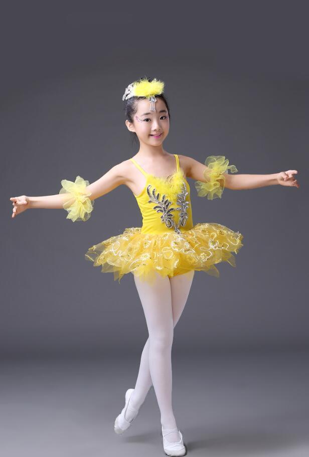 Розовое, голубое детское платье-пачка с блестками и белым лебедем, озеро, бальное платье для танцев, одежда для бальных танцев - Цвет: Цвет: желтый