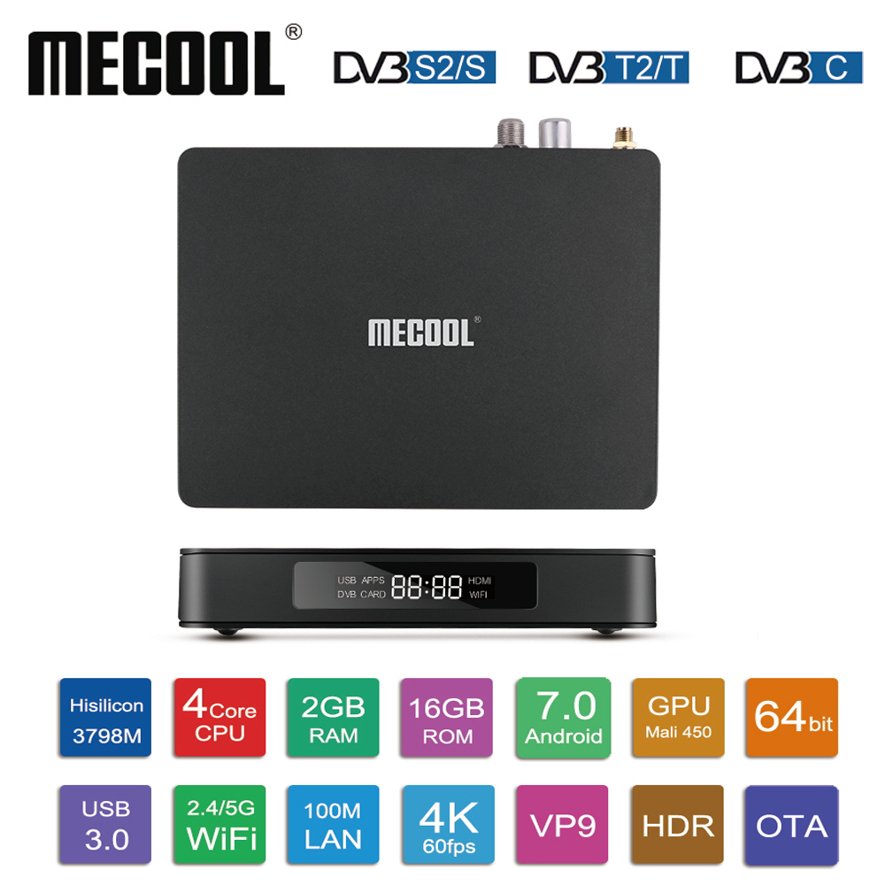 MECOOL K6 DVB-S2 DVB-T2 DVB-C Android 7.0 TV Box 2G 16G Hisilicon HI3798M 2.4G/5G WiFi USB 3.0 Boîte de TÉLÉVISION intelligente Lecteur Multimédia