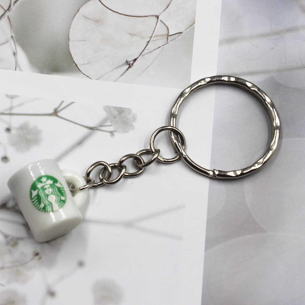 Venda quente xícara de Café Carro Masculino Chaveiro Chaveiro de Metal Chaveiro Auto Chave Titular Presente Para Homens
