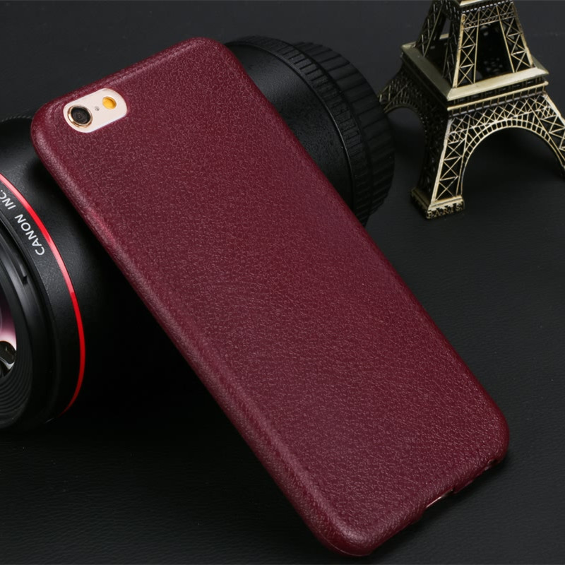 promo code fc05c 7e36e US $0.9 |Fashion Leather Pattern Texture Silicone Phone Cases Para For  iPhone 7 8 Plus X 5 5S 6 6S Case Luxury Soft TPU Back Cover-in Fitted Cases  ...