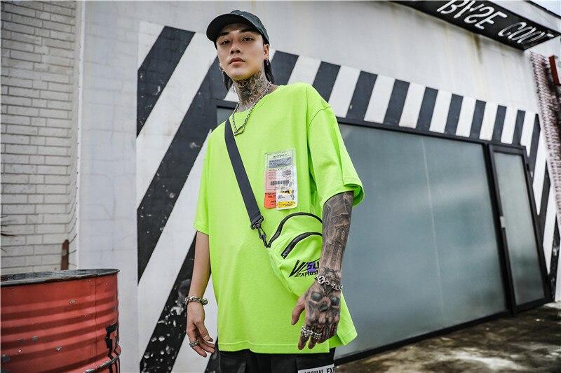 Dark Icon Side Split Fluorescent Green T-shirt with Messenger Bag Hiphop Tshirt Men Cotton Tee Shirts Streetwear Clothing 16