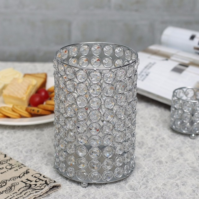 Crystal Cylinder Candle Holder Tealight Standglass Hollow Flower