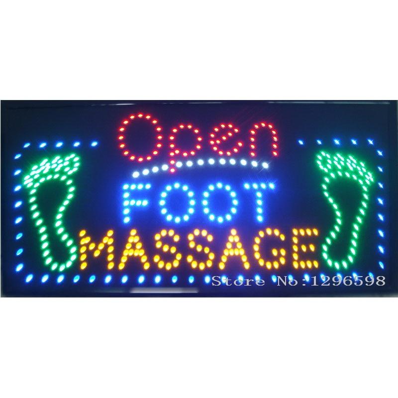 ୧ʕ ʔ୨2017 abierto pie masaje LED salon spa Clavos neón gran tamaño ...