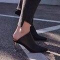 2017 новый осень зима моды квадратных ног Европейские ленивый стиль натуральная кожа высокий каблук женщины насосы тонкий каблук мулов для модели