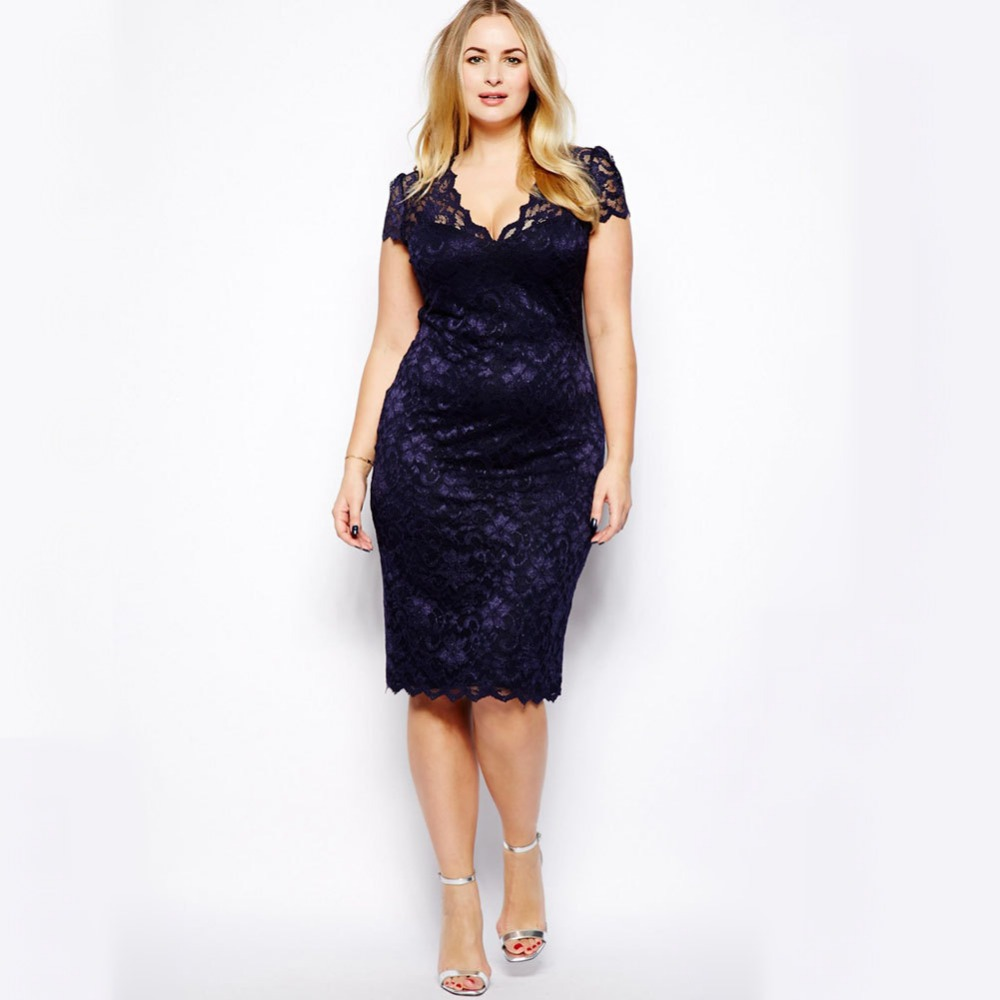 New Womens V neck Lace Dress Party Dress Navy Blue Plus Size-in ... aa4a51575aed