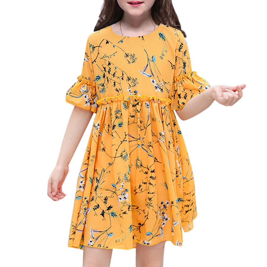 girls dresses for kids clothes summer new cute print beach
